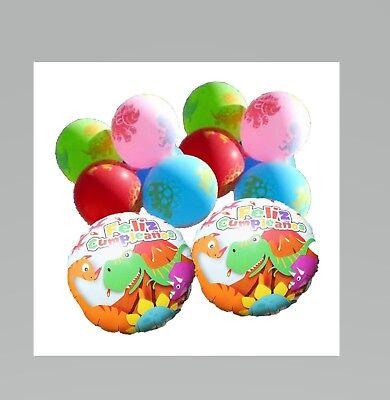 Feliz Cupleanos Dinosaur Balloon Party Pack (2) Mylar (8) Multi Color Latex  - Bulk Mylar Balloons Wholesale