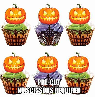 PRE-CUT Glowing Pumpkins Edible Cupcake Toppers Decorations Halloween Party (Halloween Pumpkins Edible)