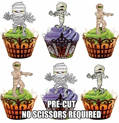 PRE-CUT Halloween Mummies Edible Cup Cake Toppers Cake Decorations Party