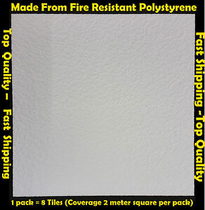 2M² Polystyrene Ceiling Tile Flame Retardant Fire Resistant Gent 1 Pack