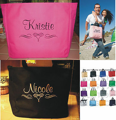 1 WEDDING TOTE Bag personalized  BRIDESMAID SCROLL BRIDAL SHOWER GORGEOUS  GIFT](Bridesmaid Tote)
