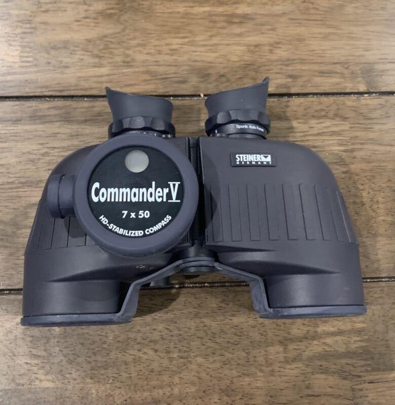 Steiner Commander V 7x50 Marine Binoculars Compass w case, lens caps