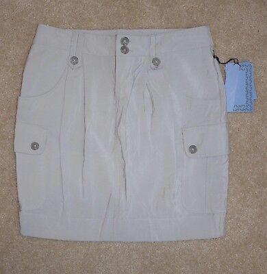 New Simply Vera Wang Sz 2 Skirt Gray Straight Cargo Pockets Rayon Nylon Mini