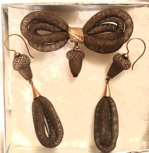 STUNNING ANTIQUE VICTORIAN MOURNING HAIR ACORN EARRINGS AND BROOCH SET~14K GOLD