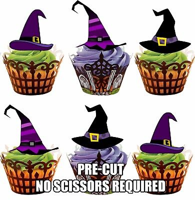 PRE-CUT Halloween Witch Hats - Edible Cupcake Toppers Party Cake - Edible Cake Decorations Halloween