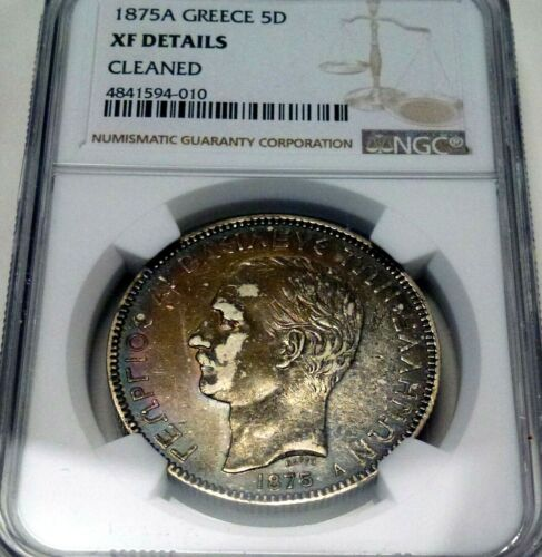 1875 A GREECE 5 Drachma Silver King George l NGC XF Details Cleaned Rainbow Tone