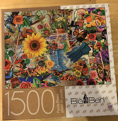 BIG BEN GARDEN COLLAGE 1500 PIECE JIGSAW PUZZLE COMPLETE FREE SHIPPING