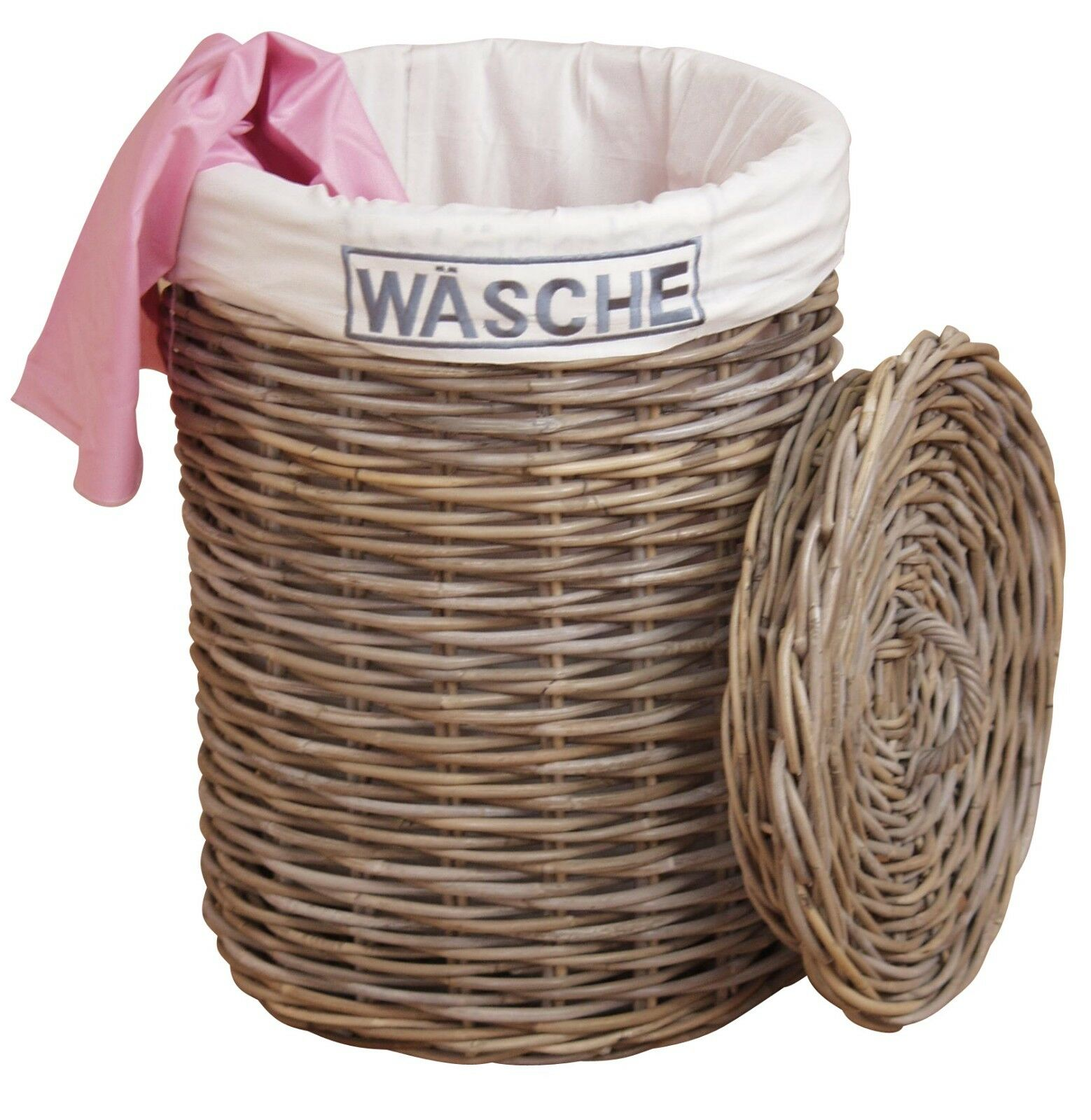 Wäschetruhe grau Wäschekorb Wäschebox Wäsche geflochten rattan Wäschebehälter