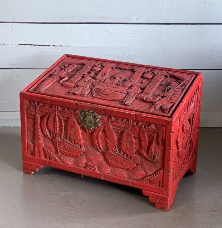 Antique Chinese Red  Carved Wood Blanket Chest