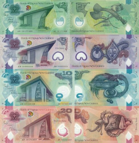 Papua New Guinea 4 Note Set: 2,5,10,20 Kina (2010) Commemorative p38-p41 UNC