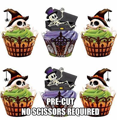 PRE-CUT Halloween Skeletons Skull Edible Cup Cake Toppers Cake Decorations - Edible Cake Decorations Halloween