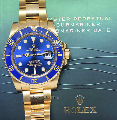 ** Rolex Submariner 18k Yellow Gold Blue Ceramic Watch Box/Papers 116618 **