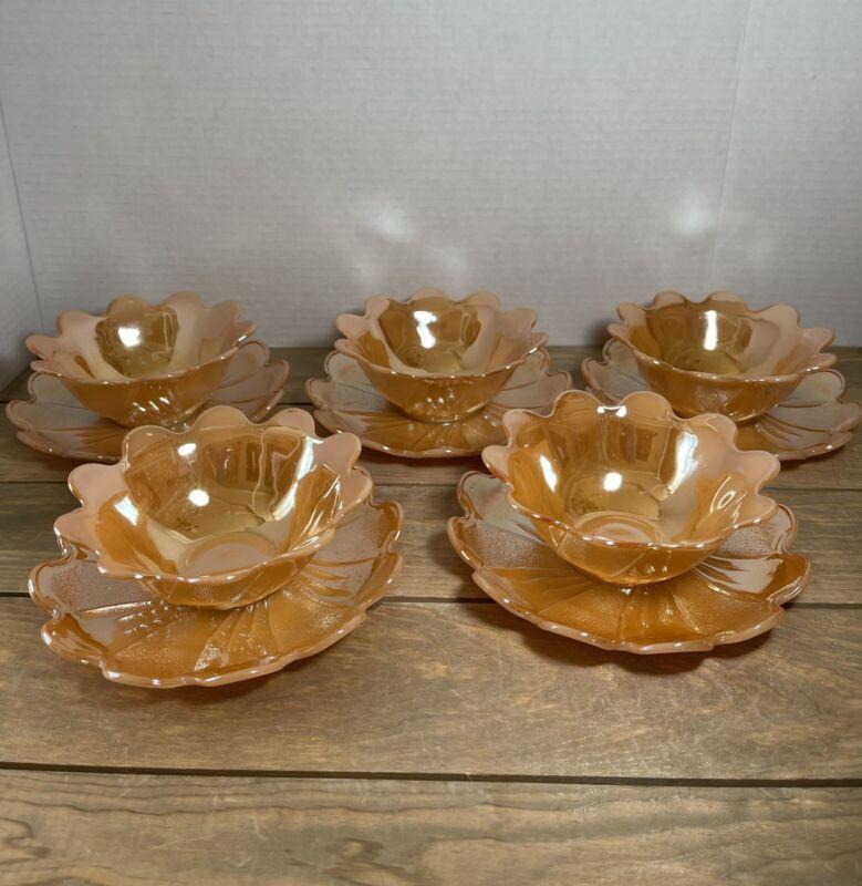 Vintage Set of 5 Peach Lusterware Lotus Leaf Fruit Dessert Bowls W/ Under Plates