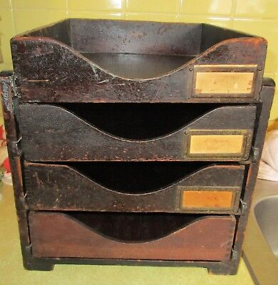 Vintage Wood 4 Dovetail Tray Desk Organizer Rack - Globe