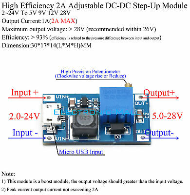 93 Efficiency 2a Dcdc 224v To 5v 9v 12v 28v Adjustable Step-up Converter Board
