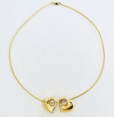 """14K Yellow Gold 16"""" OMEGA Chain Necklace w/ Two 14K HEART Slide Pendants (7.1g)"""