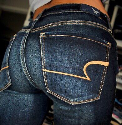 American Eagle  Skinny Super Stretch Womens Denim Blue Jeans size 4 x 29