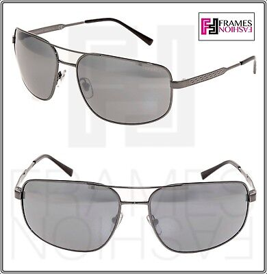VERSACE Men Wrap Aviator Sunglasses VE2158 Gunmetal Black Silver Mirrored 2158