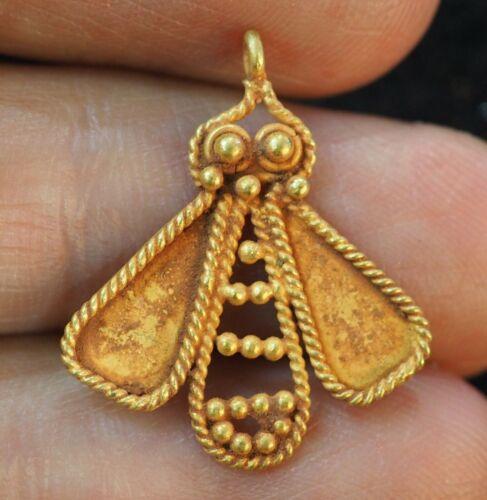 Original antique Egyptian Queen Bee solid 18K Gold Tomb Amulet Bead Pendant
