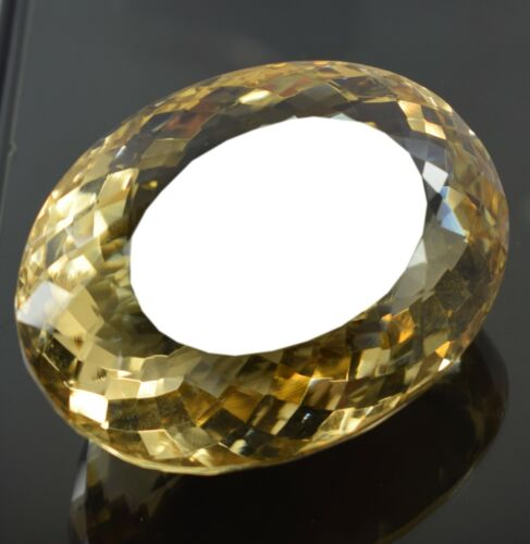 Amazing 338 Ct EGL Certified Oval Shape Yellow Citrine Loose Gemstone