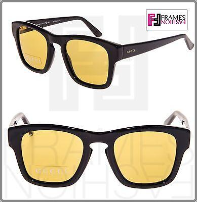 GUCCI GG3791S Square Sunglasses Shiny Black Yellow Mirrored 807BZ 3791 Unisex