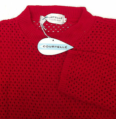 Ladies vintage 1960s knitted top COURTELLE knitwear UNWORN red lacy jumper 36