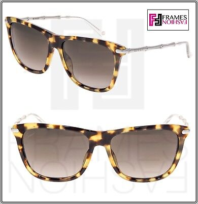 e6147659dd GUCCI GG3778S Tortoise Silver Bamboo Sunglasses Bio Based 3778 Square  Authentic