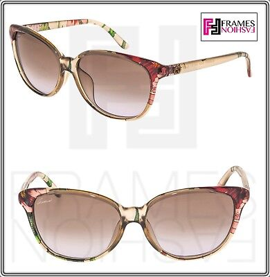 GUCCI FLORAL Silk Cat Eye GG3635NFS Beige Translucent Sunglasses 3635 Asian Fit