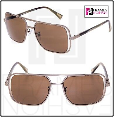 4b9419bde2b LANVIN LN019S Brushed Metal Bronze Horn Square Aviator Mirror Men Sunglasses  019