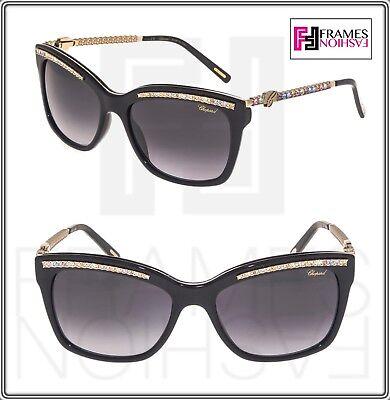 CHOPARD L HEURE DU DIAMANT Square Gold Black Crystal SCH211S Sunglasses 211 d09c6b2b394