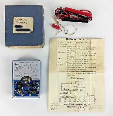Speco Tester Yt 63 Components Specialties Circuit Electrical Test Ny Vtg Gift
