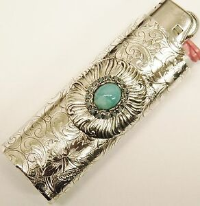 Blue turquoise stone light blue rhinestones on a bic lighter case fits a 3