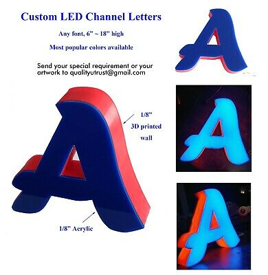 Custom Channel Letter Logo Outdoor Or Indoor Sign Front Open Easy Mount