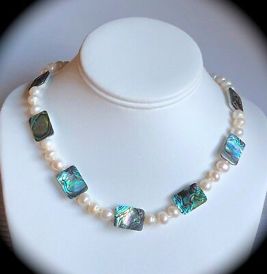 Genuine Paua Shell & Cultured Pearl Necklace with 925 Silver Clasp 'CERTIFIED' (Cultured Pearl Gemstone Shell Necklace)