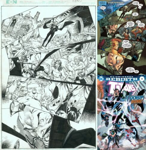 Teen Titans 3 Brett Booth Original Art Page ~ Kid Flash Wonder Girl Nightwing