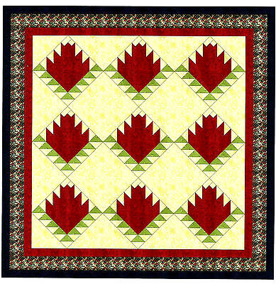 Easy Quilt Kit Red Rose Log Cabin Pre Cut Fabrics Ready