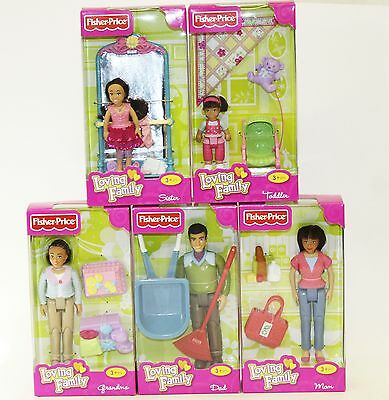 5 Fisher Price Loving Family Hispanic Dolls Mom Dad Grandma Sister Toddler NEW