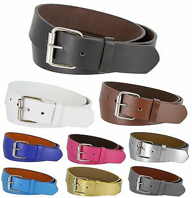 B570 - Vegan Leather Casual Jean Belt with Roller Buckle, 1-1/2