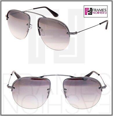 PRADA TEDDY PR58OS Aviator Lilac Gunmetal Silver Mirrored Rimless Sunglasses 58O