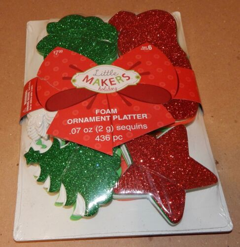 "Christmas Foam Ornament Platter 436 pc Glitter Sequins 3"" Stars Trees Snow 107L"