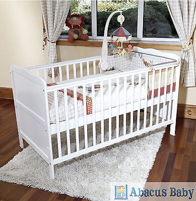 NEW BABY WHITE COT BED & FOAM MATTRESS COTBED NURSERY FURNITURE - JUNIOR BED