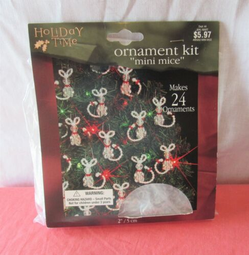 BEADERY HOLIDAY TIME  CHRISTMAS ORNAMENT KIT MINI MICE MAKES 24 NEW