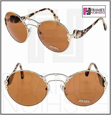 PRADA WANDERER Round PR55TS Grey Havana Pale Gold Pink Sunglasses 55T (Prada Pr 55t)