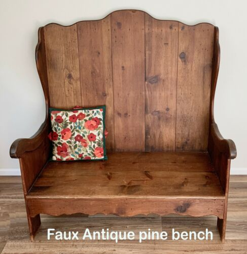 Decorative Faux Antique Wooden Bench