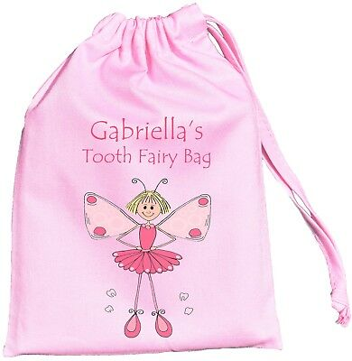 PINK PERSONALISED - TOOTH FAIRY - TINY DRAWSTRING BAG