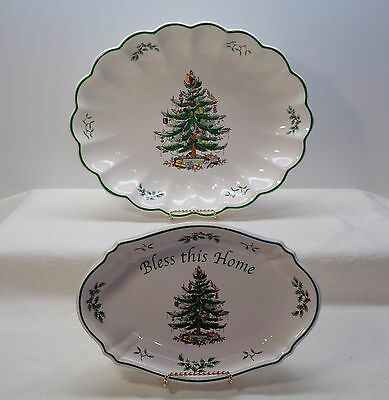 SPODE CHRISTMAS TREE CHINA HUGE SCALLOPED FLUTED PLATTER & BLESS THIS HOME DISH China Fluted Platter