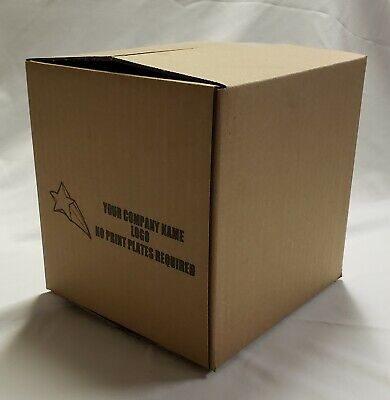 100 8x8x8 Corrugated Shipping Boxes - 100 Boxes Custom Printed Logo