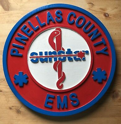 Fire Department Pinellas County EMS 3D routed wood custom patch  Sign Custom