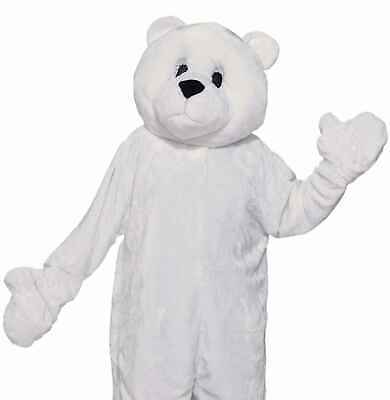 Polar Bear Costume Mascot Adult Plush Deluxe White Animal Cosplay - Fast Ship -