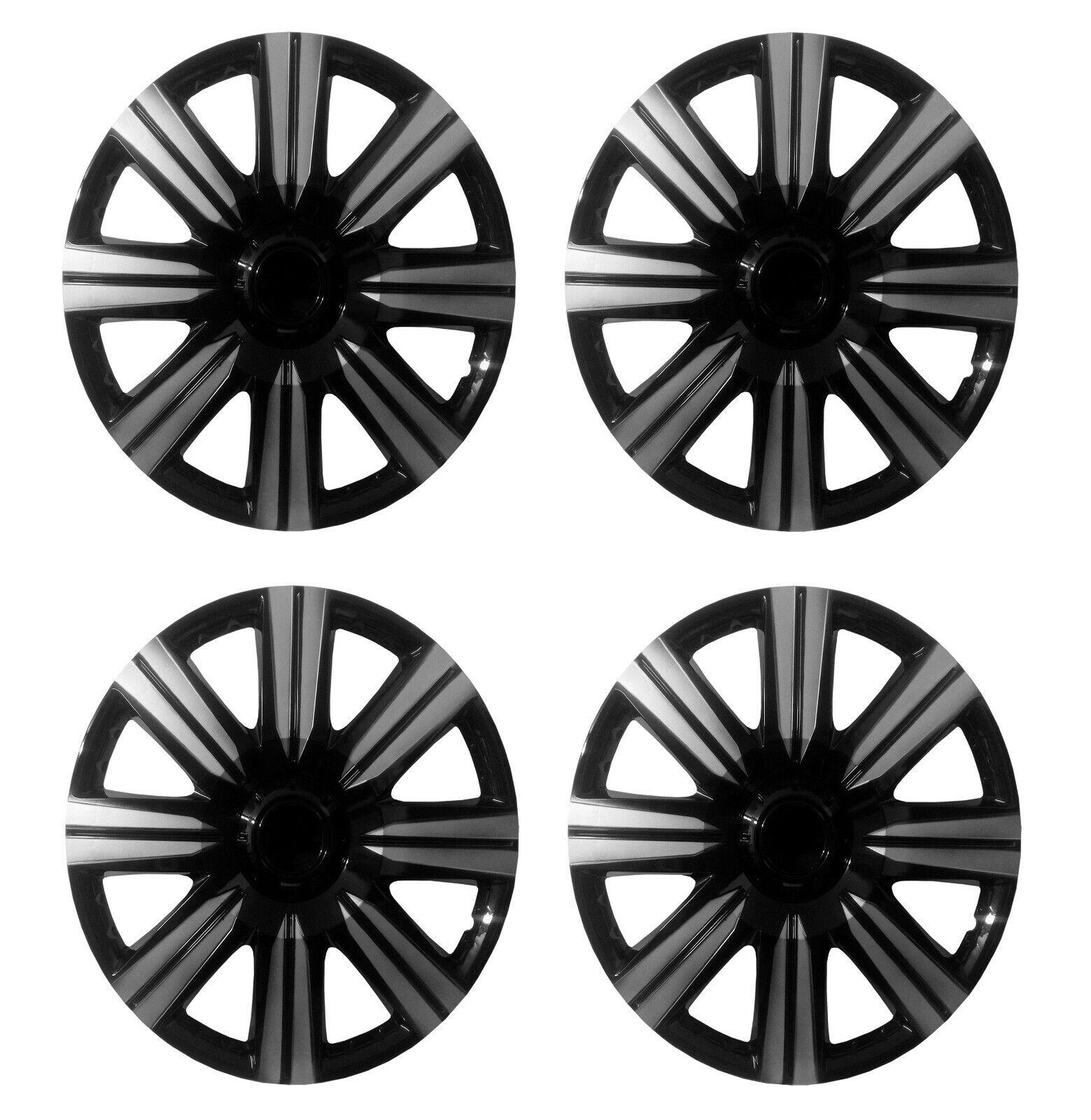 WHEEL TRIMS SET OF 4 x 14 INCH CAR COVER HUB CAPS CAP BLACK/SILVER LOOK 14